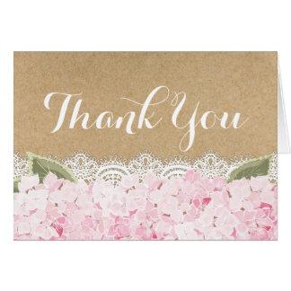 Pink Hydrangea Lace Kraft Rustic Modern Thank You Card
