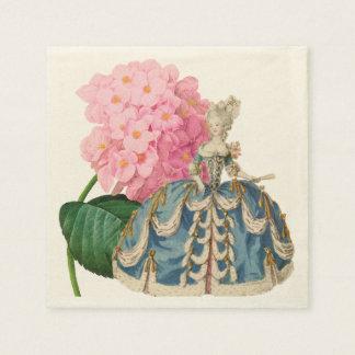 Pink Hydrangea Marie Antoinette Ecru Napkin Paper Napkins