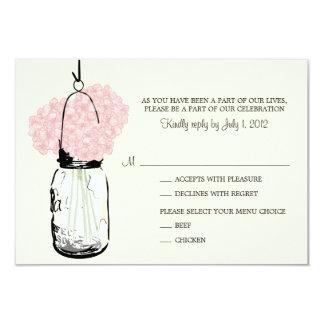 Pink Hydrangea & Mason Jar Wedding RSVP Card