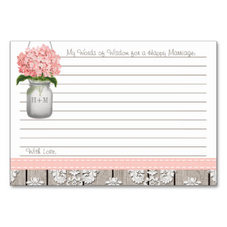 Pink Hydrangea Mason Jar Words of Advice Table Cards