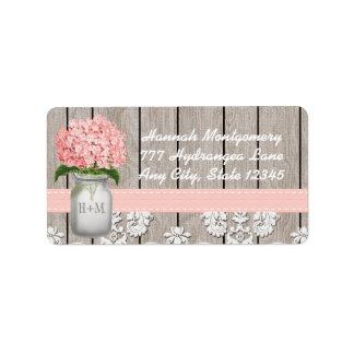 Pink Hydrangea Monogrammed Mason Jar