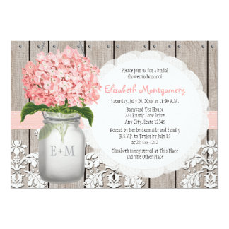 "Pink Hydrangea Monogrammed Mason Jar Bridal Shower 5"" X 7"" Invitation Card"