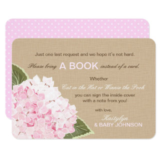 Pink Hydrangea Rustic Read a Book Card