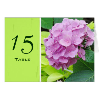 Pink Hydrangea Wedding Table Number Card