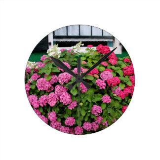 Pink hydrangeas, Holland Round Clock
