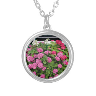 Pink hydrangeas, Holland Silver Plated Necklace