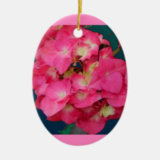 Pink Hydrangeas-Teal colors Flower Gift by SHARLES Ceramic Ornament