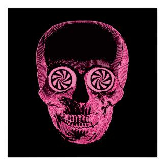 Pink Hypnotic Skull Poster Perfect Poster