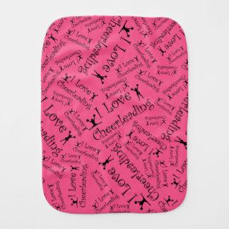Pink I love cheerleading Baby Burp Cloths