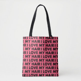Pink I Love My Hair Bold Text Cutout Tote Bag