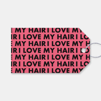 Pink I Love My Hair Text Cutout Gift Tags