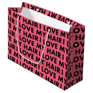 Pink I Love My Hair Text Cutout Large Gift Bag