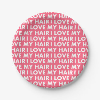 Pink I Love My Hair Text Cutout Paper Plate