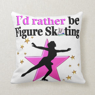 PINK I WOULD RATHER BE ICE SKATING DESIGN THROW PILLOW