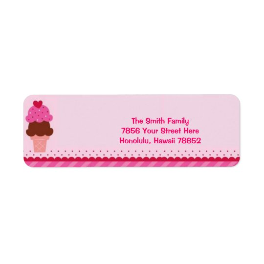 Pink Ice Cream Address Label