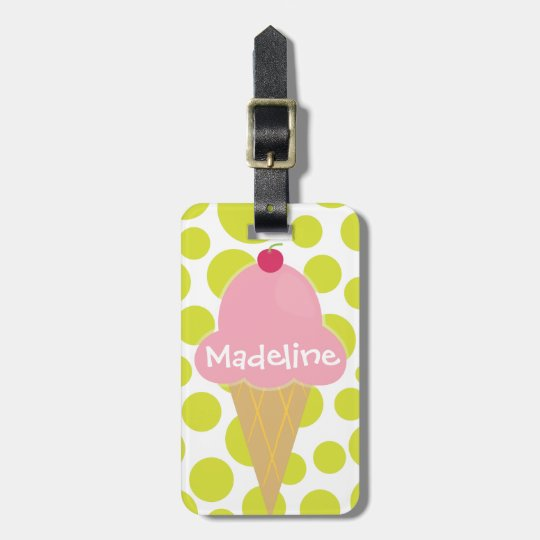Pink Ice Cream Cone Personalized Luggage Tag