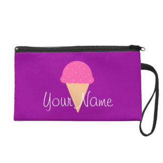 Pink Ice Cream Cone Wristlet - Customize It