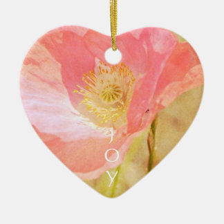 Pink Iceland Poppy Heart Ornament