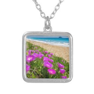 Pink icicle plants at coast in Greece Silver Plated Necklace