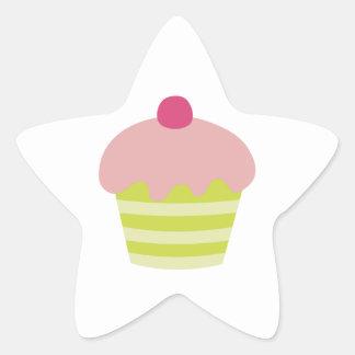 Pink Icing Cupcake Star Sticker