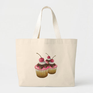 Pink Icing on Cupcakes: Cherry On Top: Art Large Tote Bag