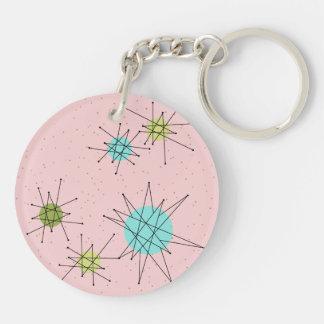 Pink Iconic Atomic Starbursts Acrylic Keychain