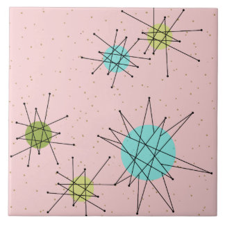 Pink Iconic Atomic Starbursts Ceramic Tile