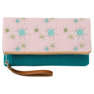 Pink Iconic Atomic Starbursts Fold-Over Clutch