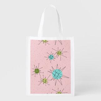 Pink Iconic Atomic Starbursts Grocery Bag