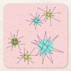 Pink Iconic Atomic Starbursts Paper Coasters