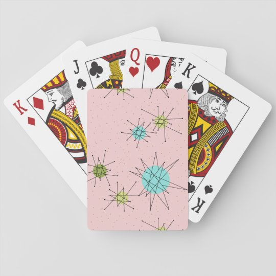 Pink Iconic Atomic Starbursts Playing Cards