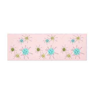 Pink Iconic Atomic Starbursts Stretched Canvas
