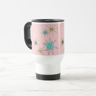 Pink Iconic Atomic Starbursts Travel Mug