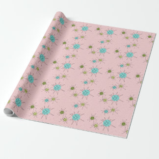Pink Iconic Atomic Starbursts Wrapping Paper