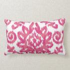 Pink Ikat Boho Whimsical Ethnic Girly White & Pink Lumbar Pillow