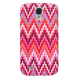 Pink Ikat Chevron Geometric Zig Zag Stripe Pattern Galaxy S4 Covers