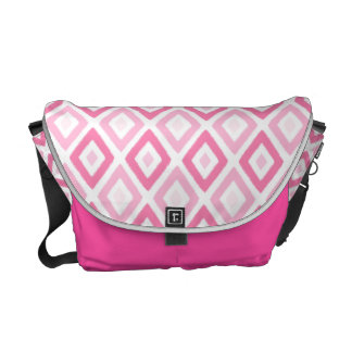 Pink Ikat Diamond Pattern Courier Bags