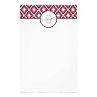 Pink Ikat Monogram Custom Stationery