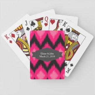 Pink Ikat Style Weave Pattern Poker Deck