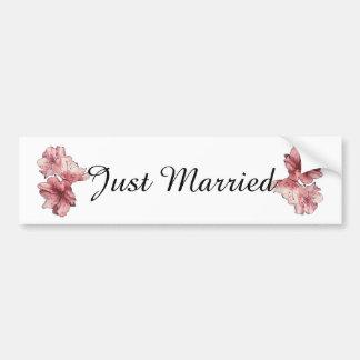 Pink Illustrated Flower Customize Wedding Set Bumper Sticker
