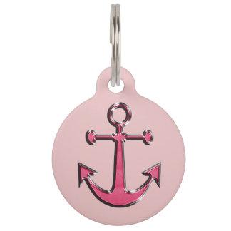 Pink Image of Metallic Anchor Pet Tag