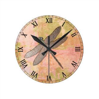 Pink Impressions Metal Dragonfly Wall Clocks