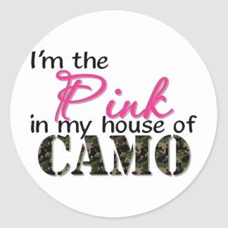 Pink In My House Of Camo Classic Round Sticker