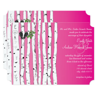 Pink Initials in Birch Tree Wedding Invitations