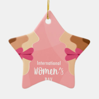 pink international womens day ceramic ornament
