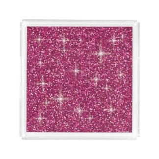 Pink iridescent glitter acrylic tray