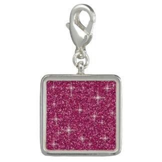Pink iridescent glitter charm