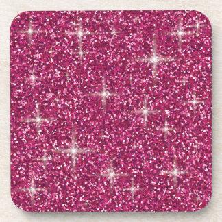 Pink iridescent glitter coaster