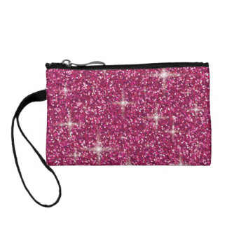 Pink iridescent glitter coin purse