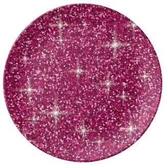 Pink iridescent glitter plate